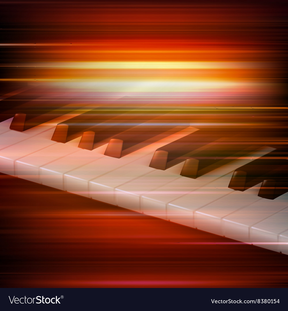 Abstract red blur music background with piano keys vector