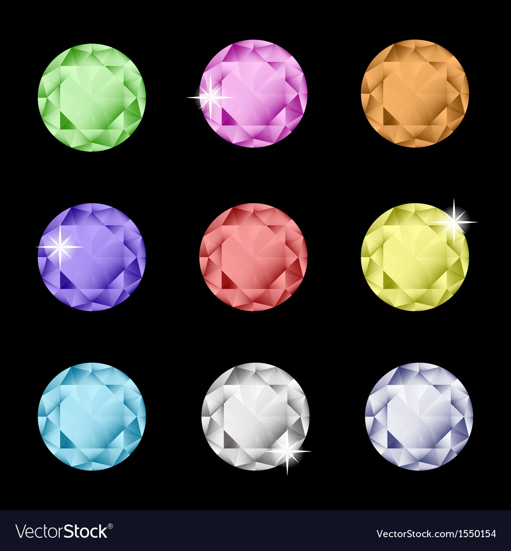 Collection of multicolored rhinestones vector