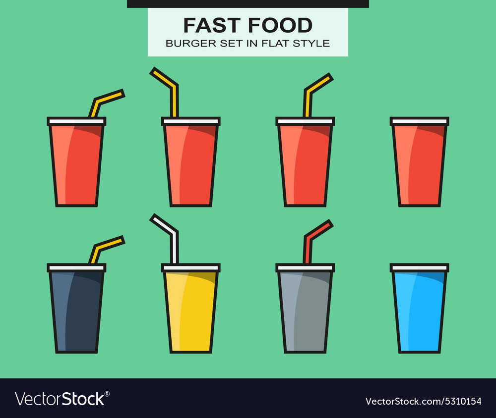 Set of fast food cups different colors in flat vector