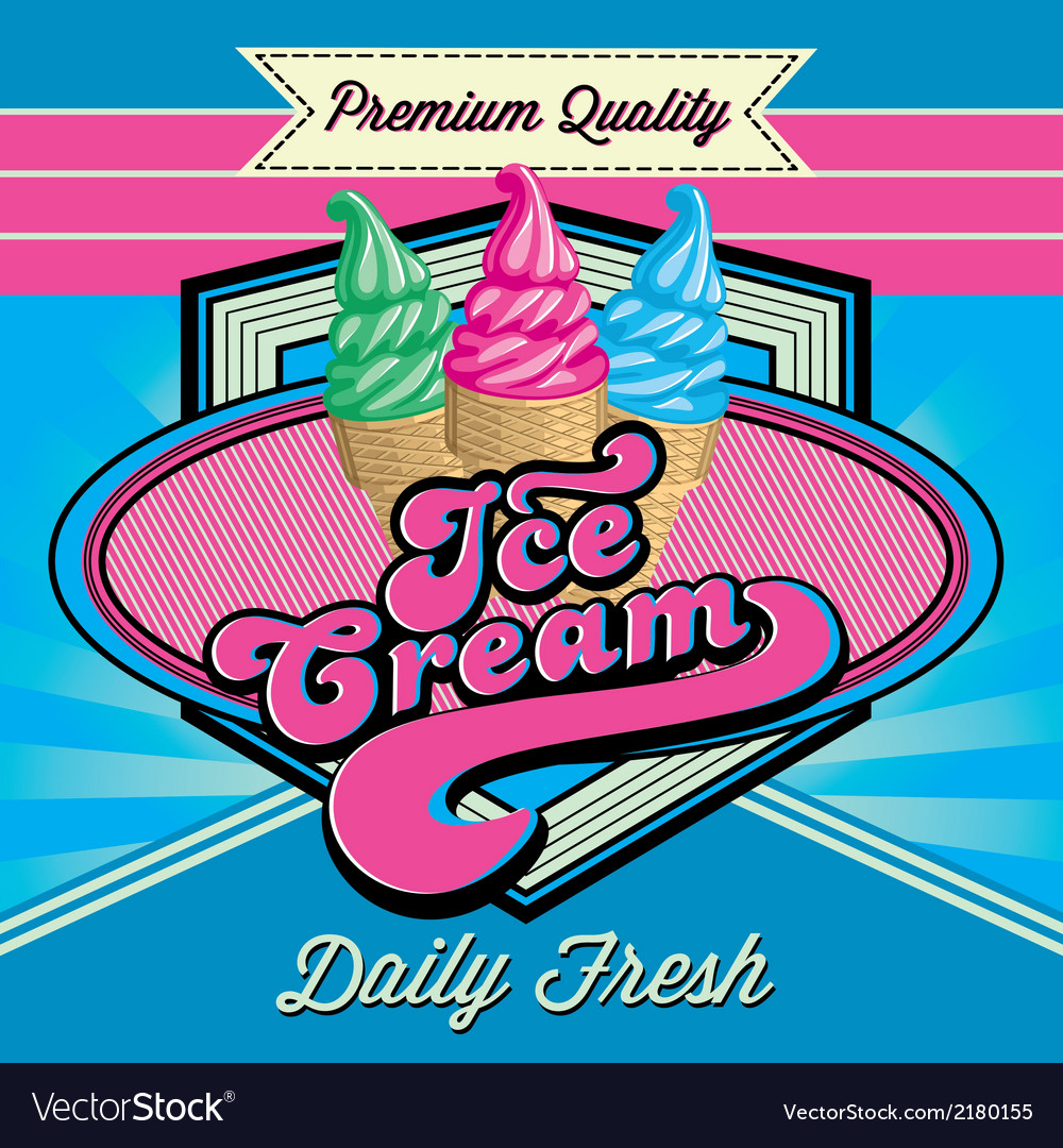 Vintage background with ice cream and inscriptions vector