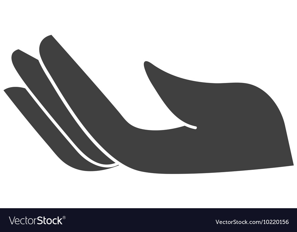 Hand human silhouette isolated icon vector