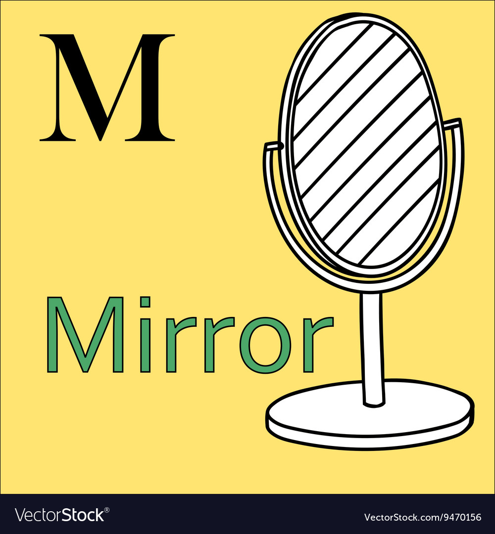 M letter alphabet coloring book mirror vector