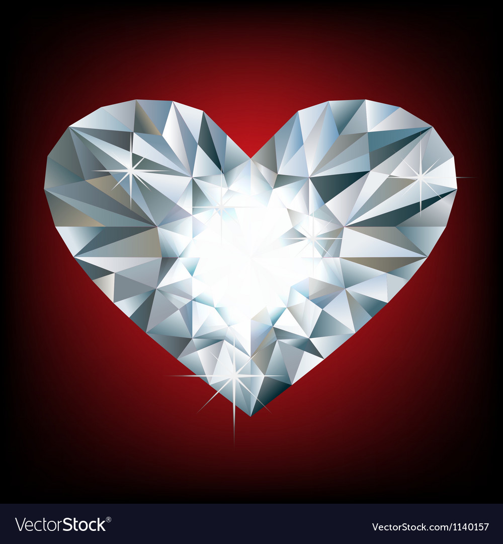 Shiny diamond heart vector