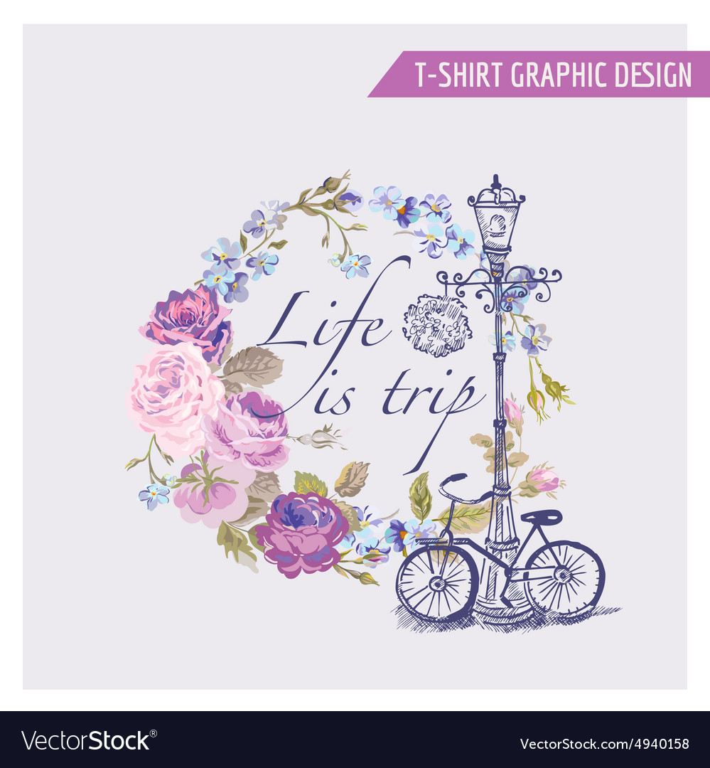 Floral shabby chic graphic design  for tshirt vector