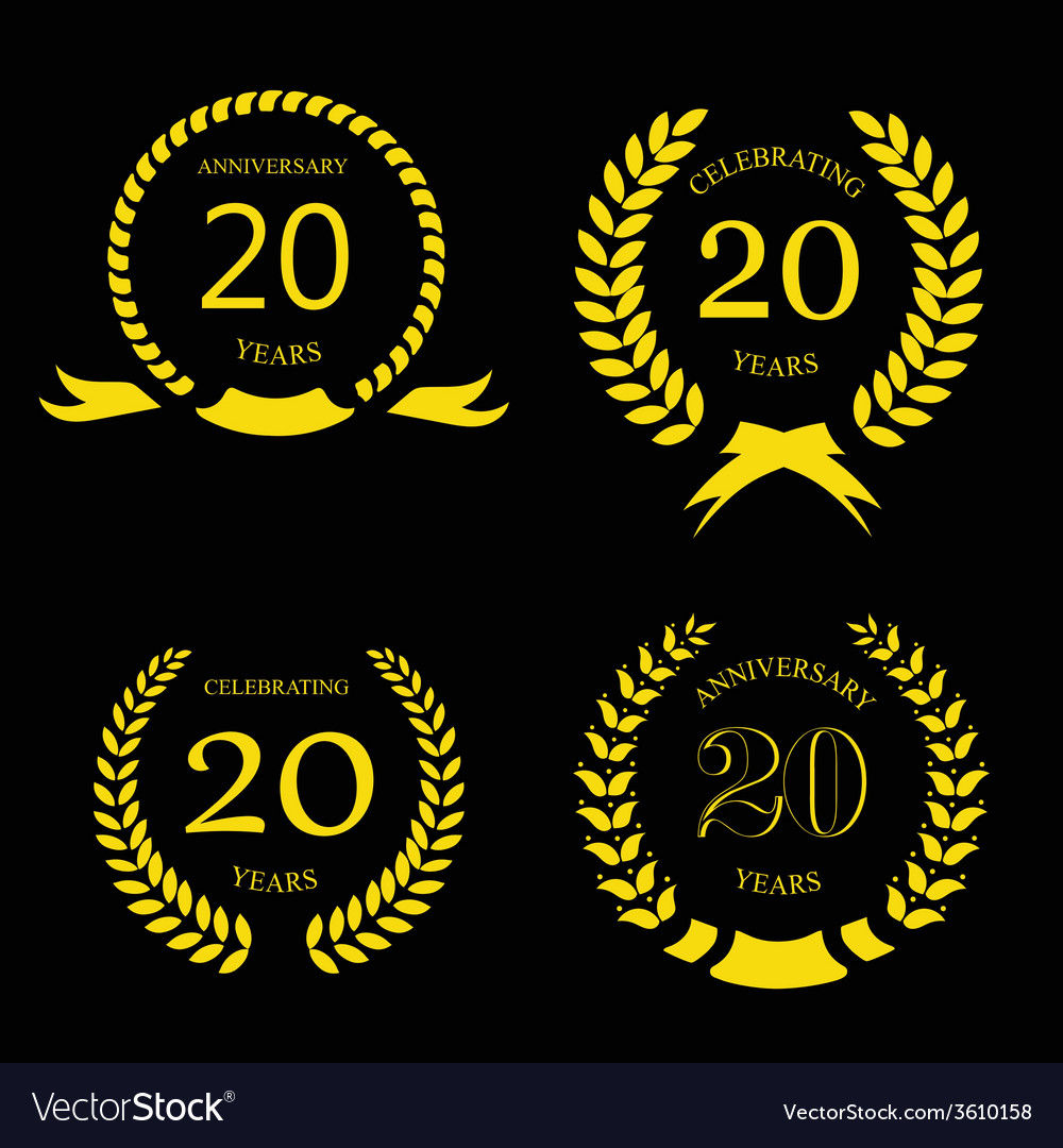 Twenty years anniversary laurel gold wreath  20 vector
