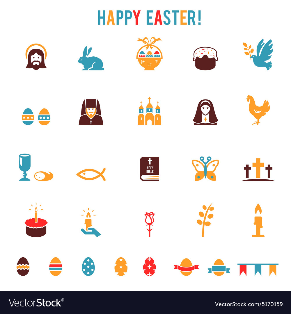 Easter iconssilhouettes vector