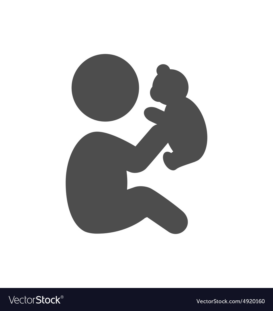 Baby plays with teddy bear pictogram flat icon vector