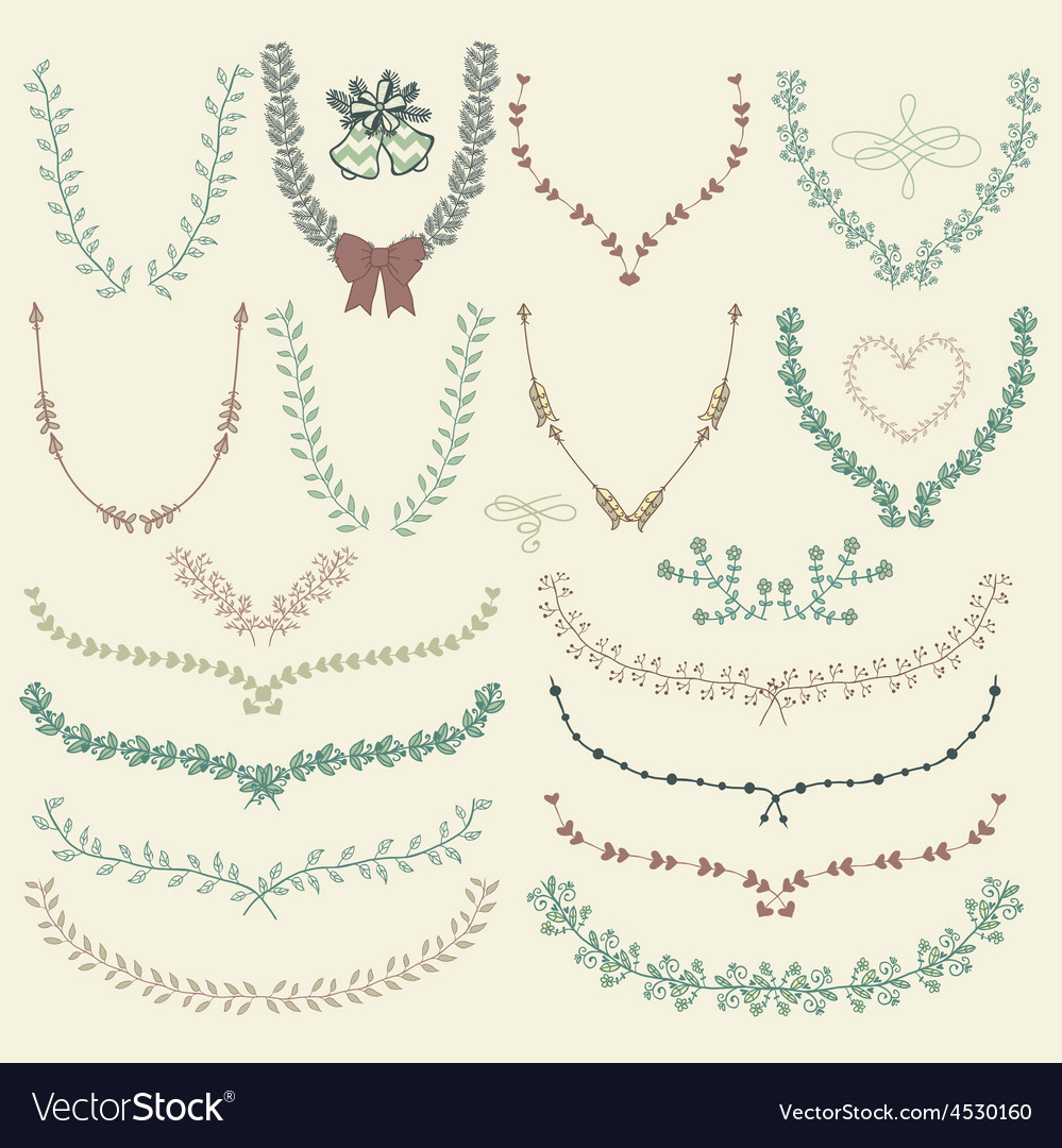 Colorful hand drawn floral wreaths laurels vector