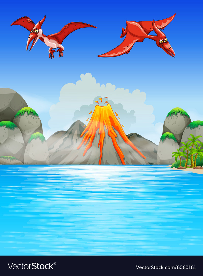 Dinosaurs flying over volcano vector