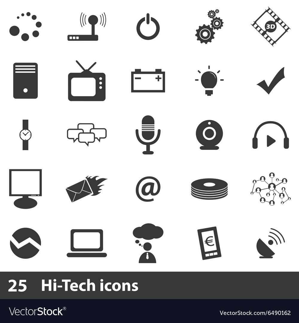 25 hitech icons set vector