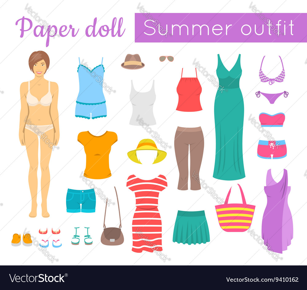 Paper doll girl with summer clothes game vector
