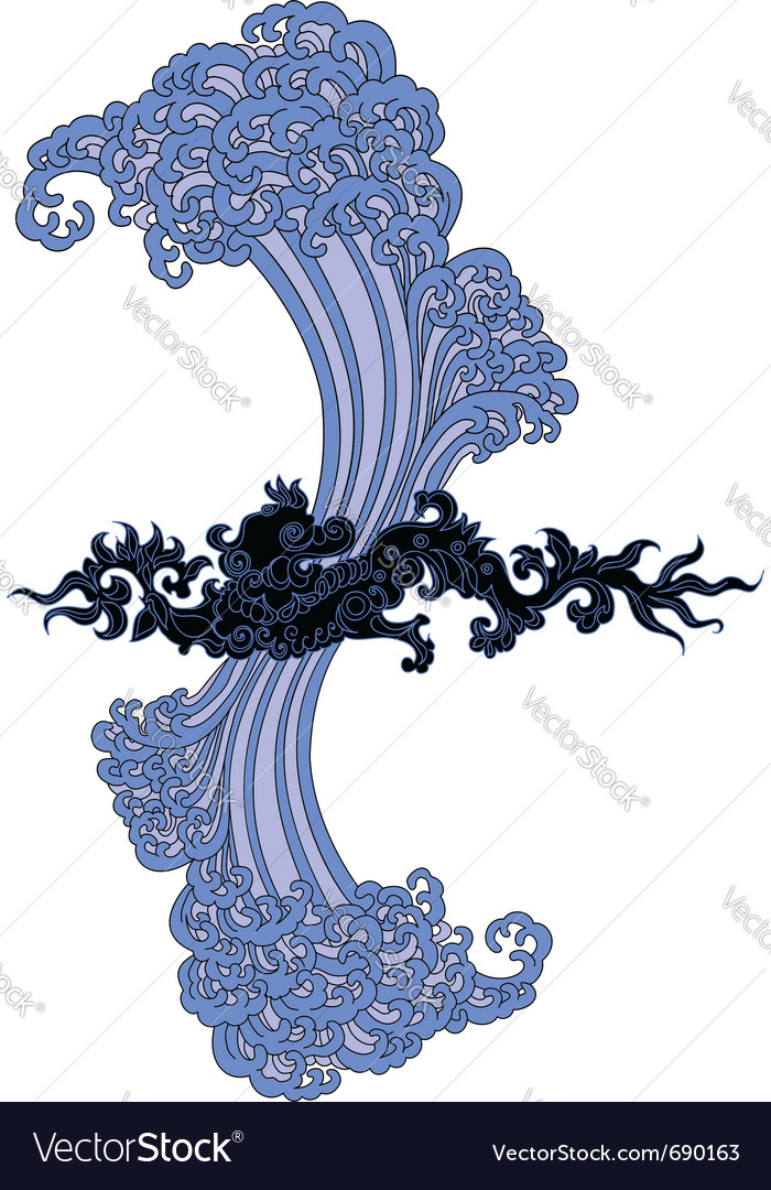 Water black dragon vector