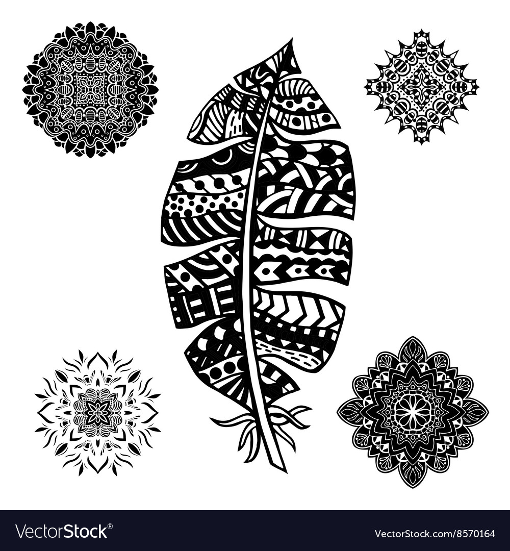 Feather and mandalas vector