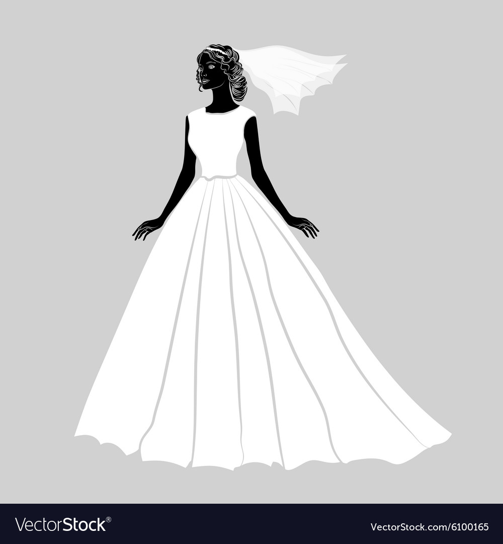 Bride in a wedding dress vector