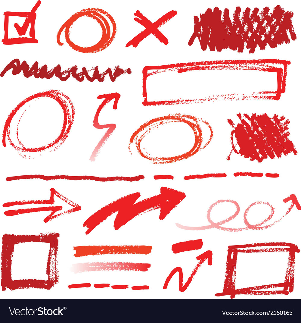Collection of handdrawn red pencil corrections vector