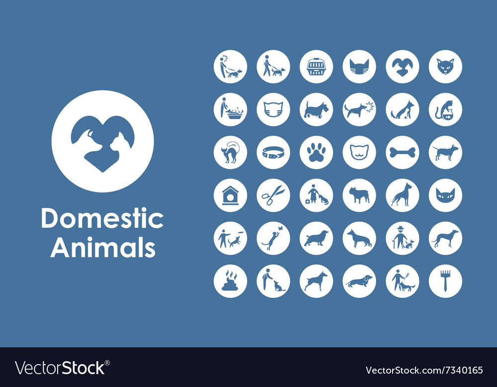 Set of pets simple icons vector