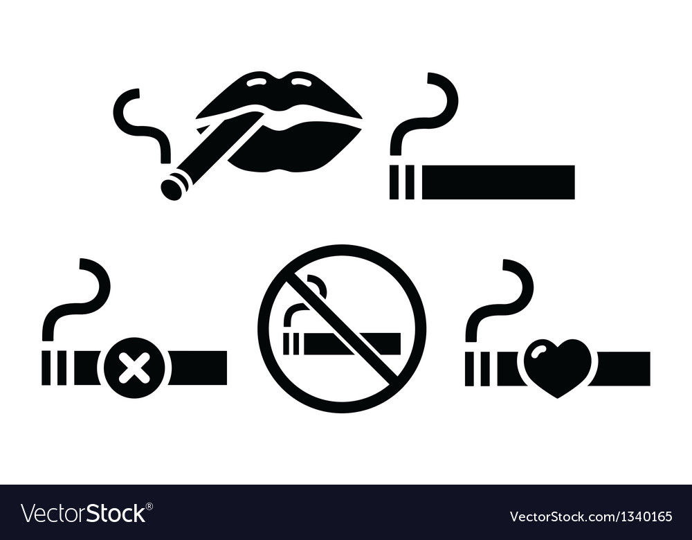 Sexy lips with cigarette no smoking icons vector