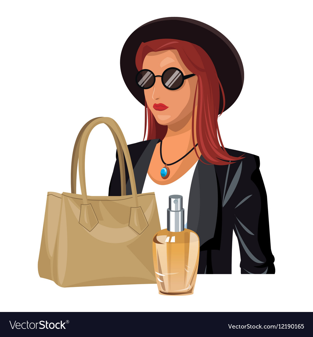 Wo fashion clothes beige handbag and perfume vector
