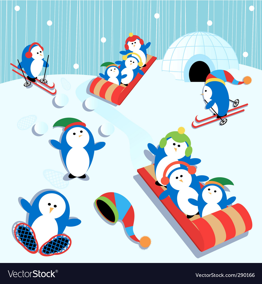 Penguin fun vector