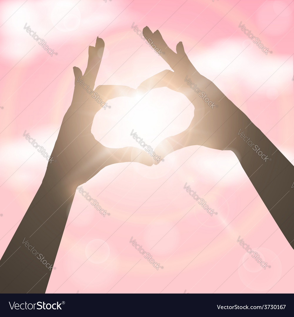 Hands in the form of heart over pink sky concept vector