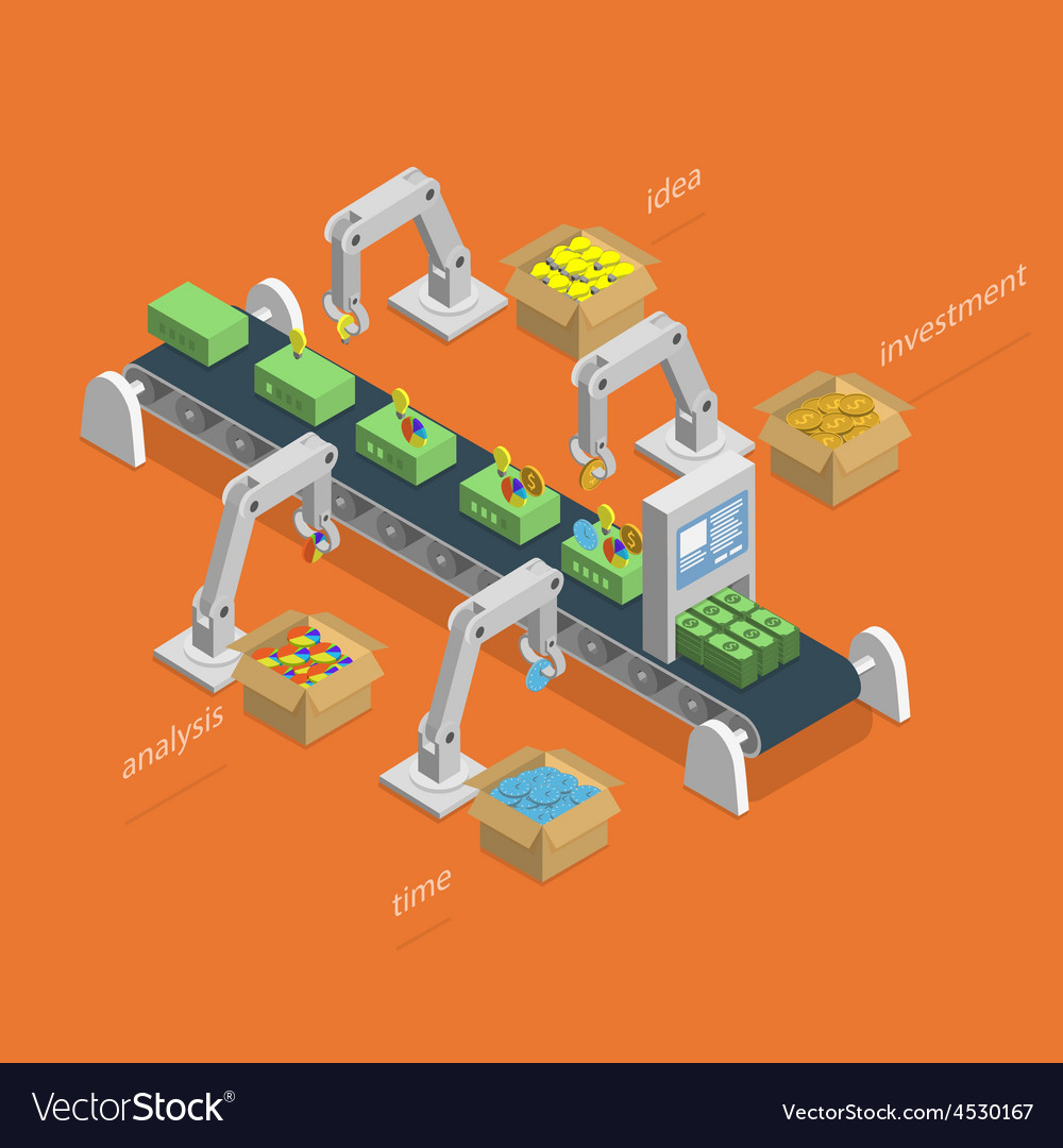Money making process isometric concept vector
