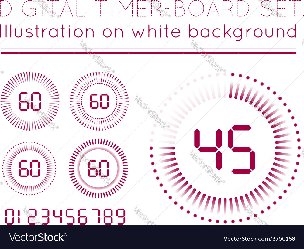 Digital countdown timer vector