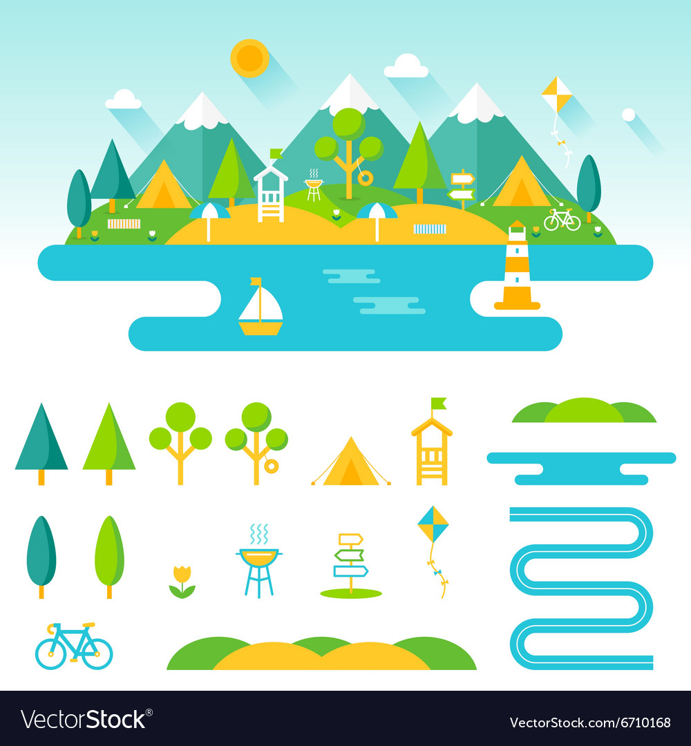 Lake beach woods and mountains summer landscape vector