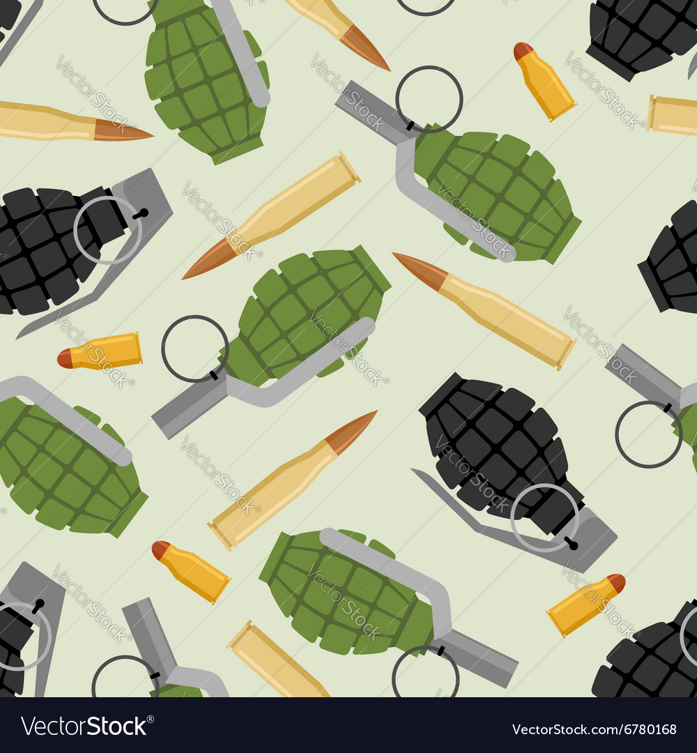Military ammo seamless pattern grenade and ammo vector