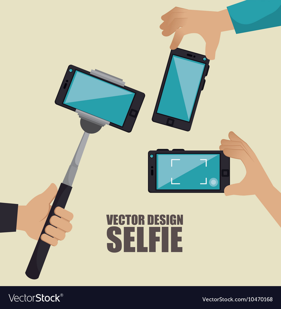 Monopod photography selfie style isolated vector