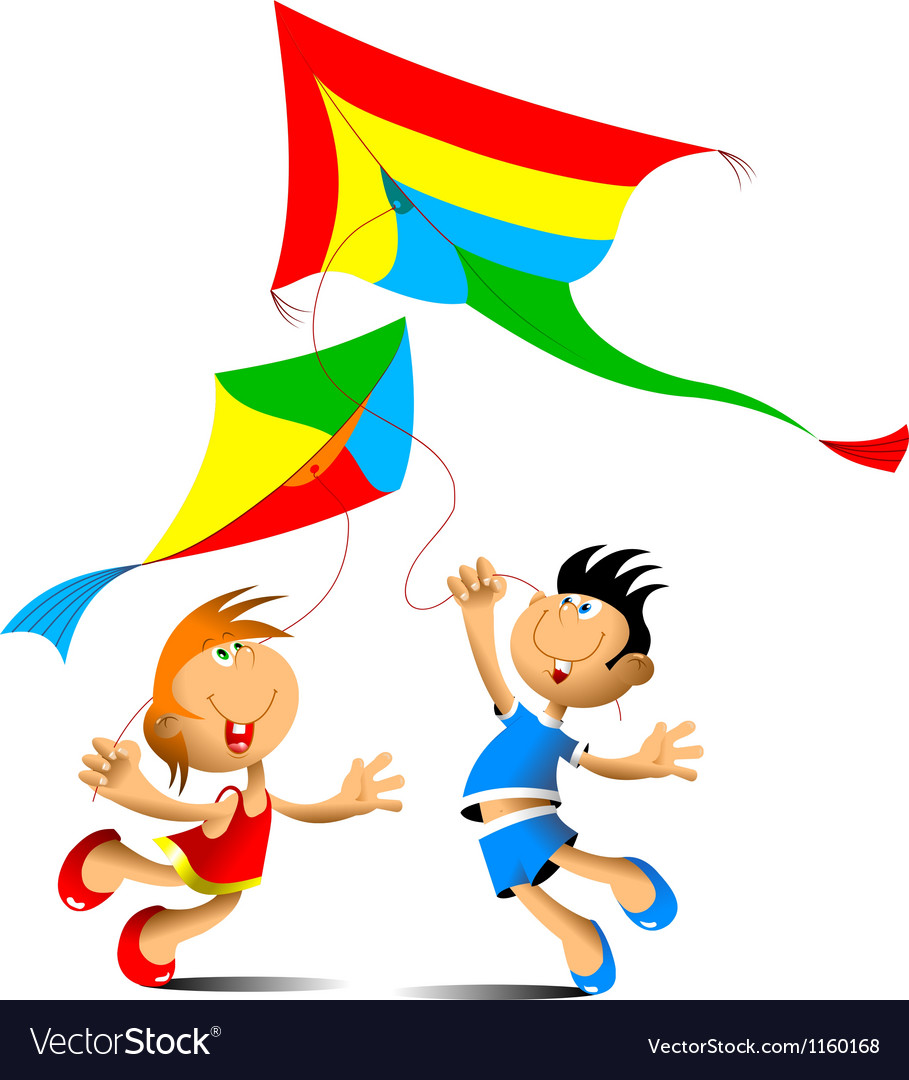 Two kids playing with kites vector