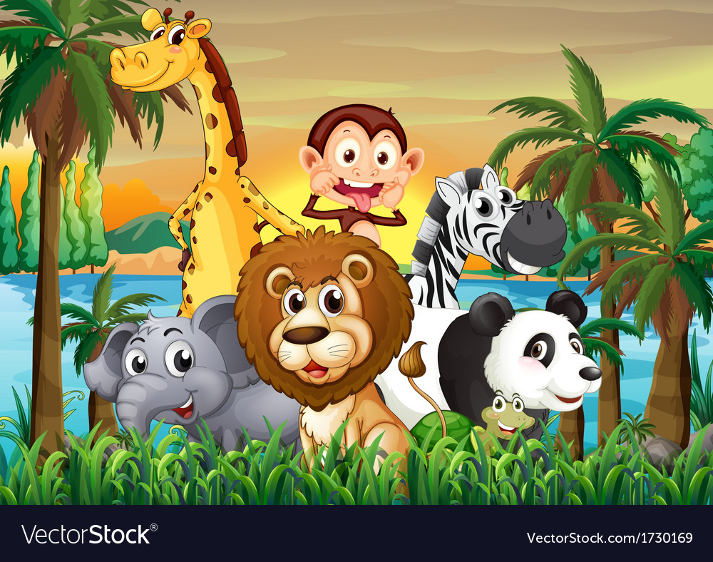 A group of animals at the riverbank with coconut vector