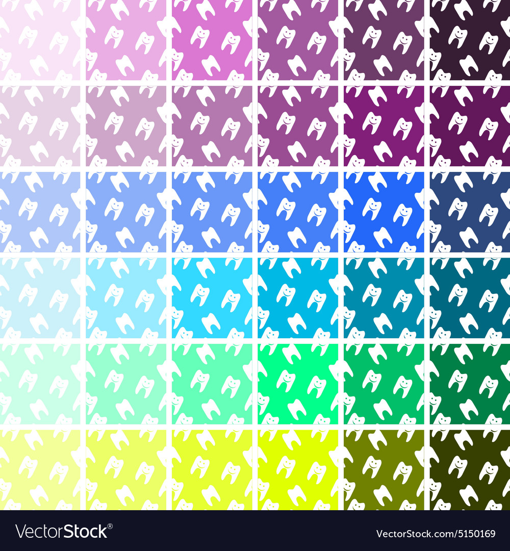 Pattern of healthy teeth symbols set seamless vector