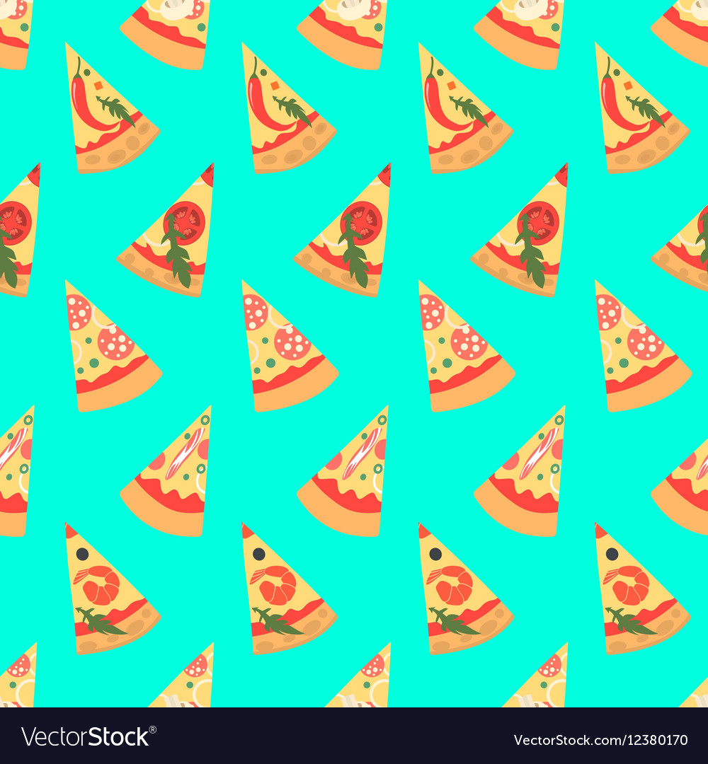 Seamless pattern with pizza margherita slices vector