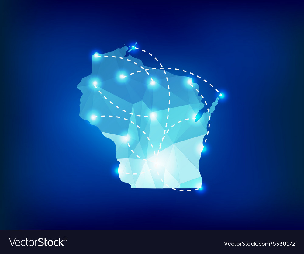 Wisconsin state map polygonal with spotlights vector