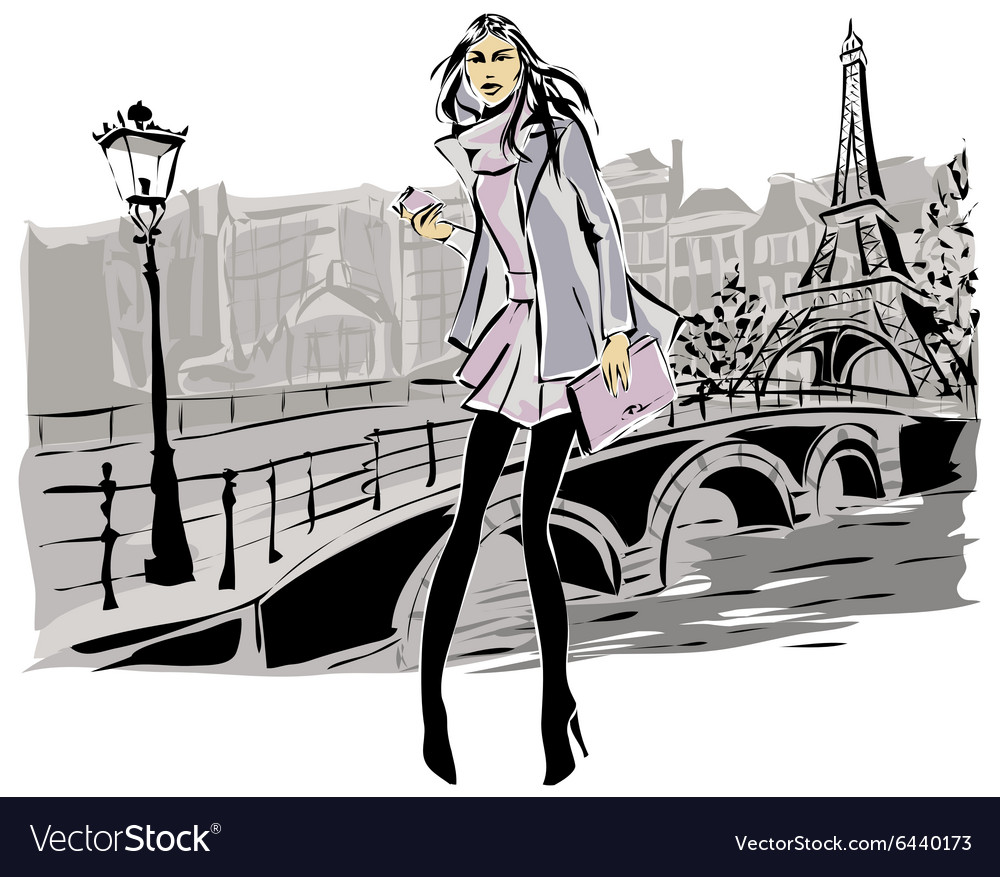 Fashion models in sketch style fall winter with vector