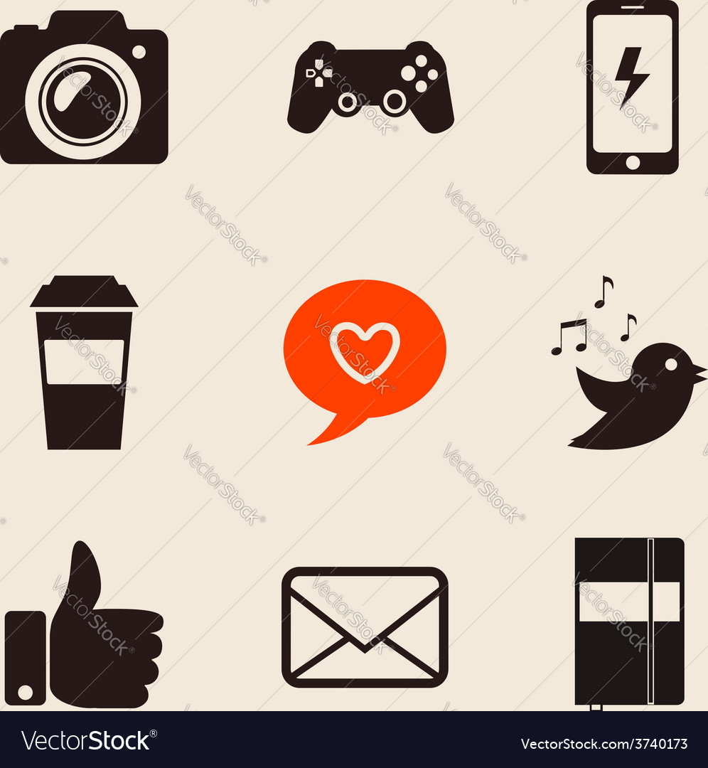 Set of social network icons vector