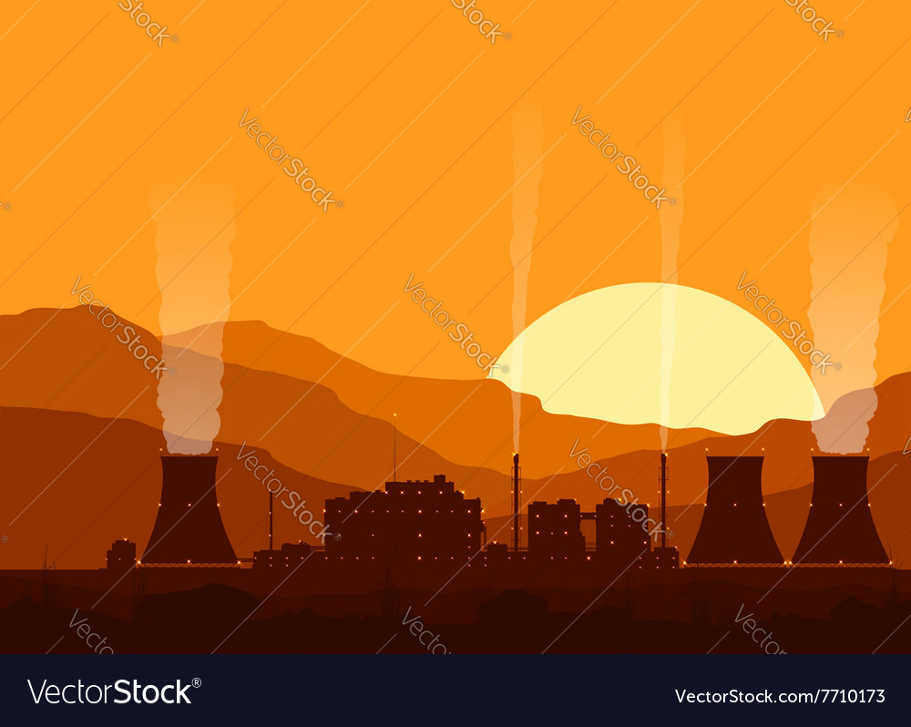 Silhouette of a nuclear power plant at sunset vector