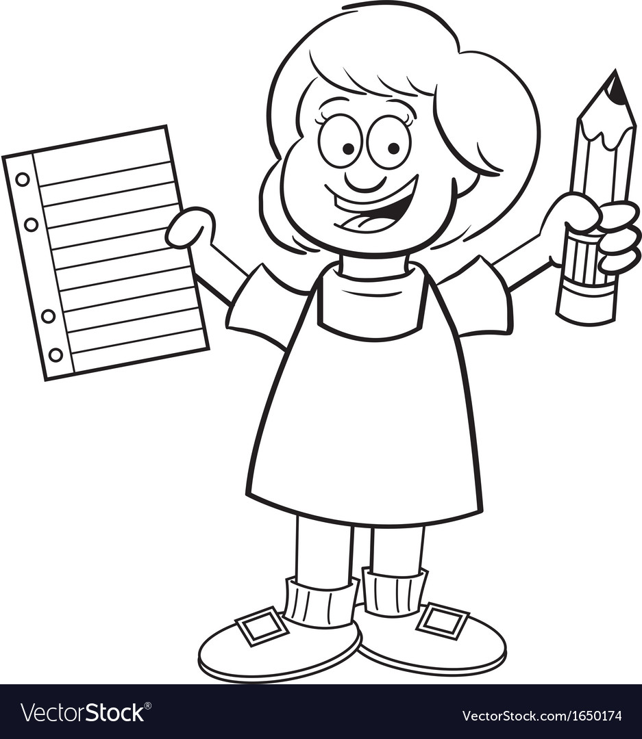 Cartoon girl holding a paper and pencil vector