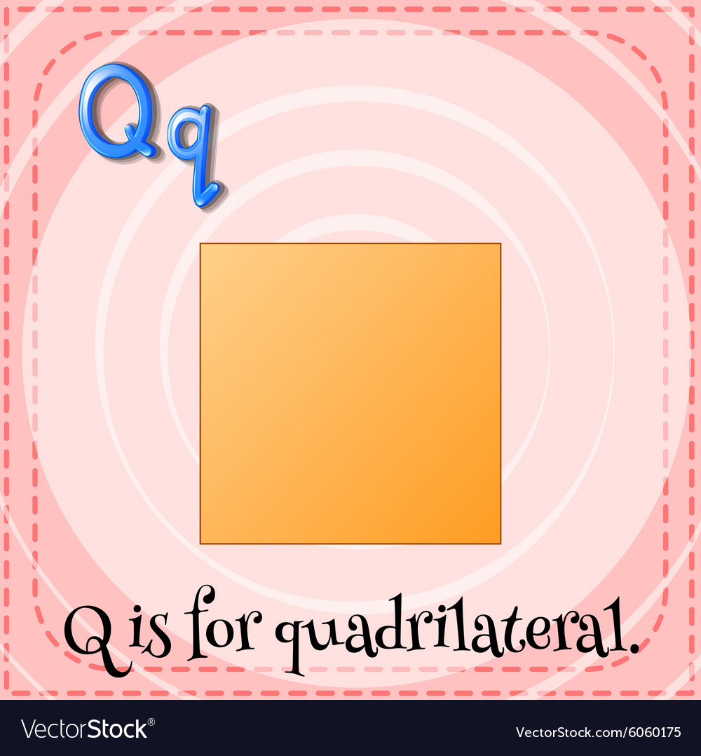Flashcard letter q is for quardrilateral vector