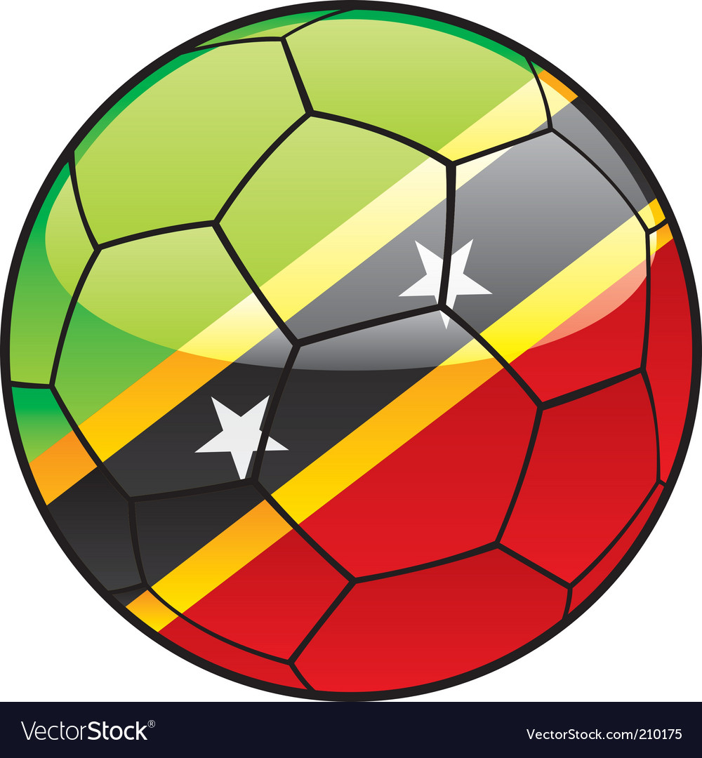St kitts and nevis flag on soccer ball vector