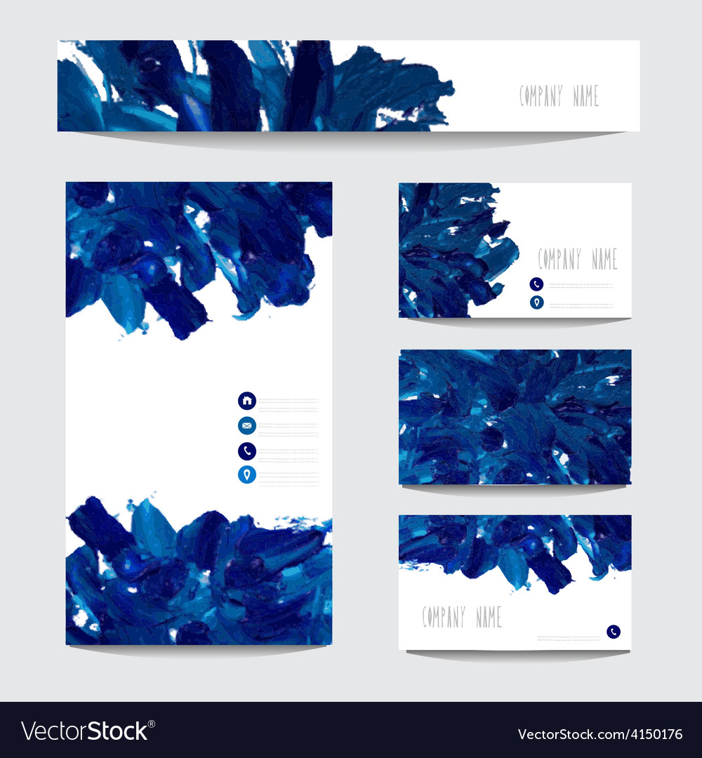 Oil painted business cards vector