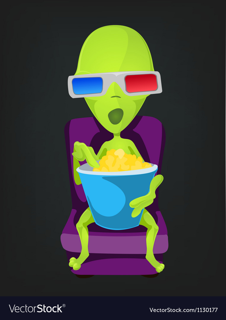 Cartoon 3d cinema alien vector
