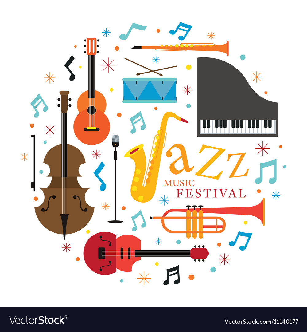 Jazz music instruments objects label vector