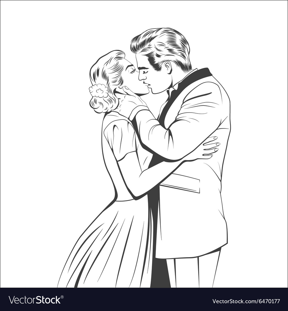 Kissing couple vector