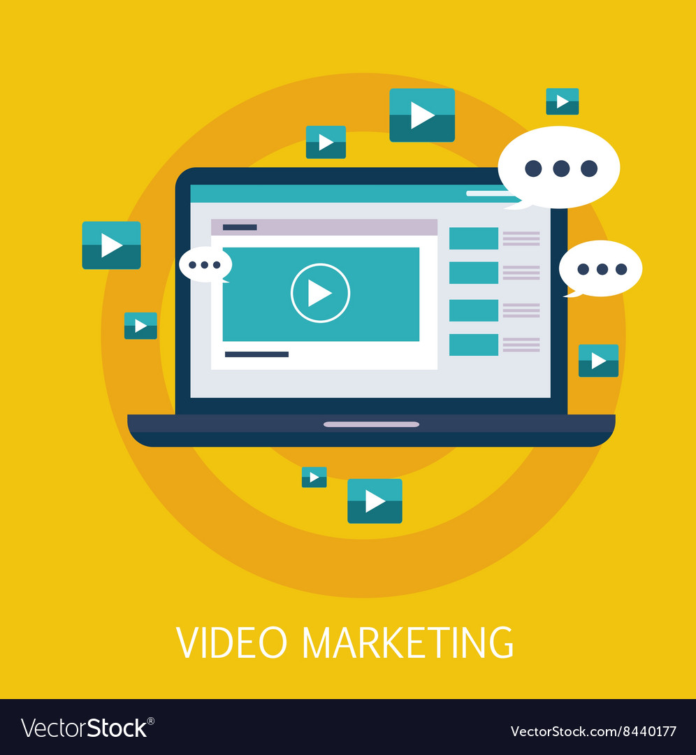 Video marketing concept art vector