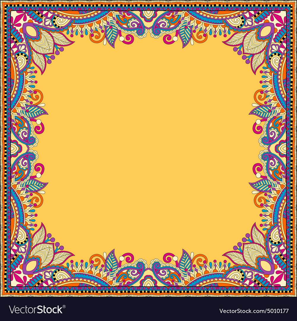 Yellow floral vintage frame ukrainian ethnic vector