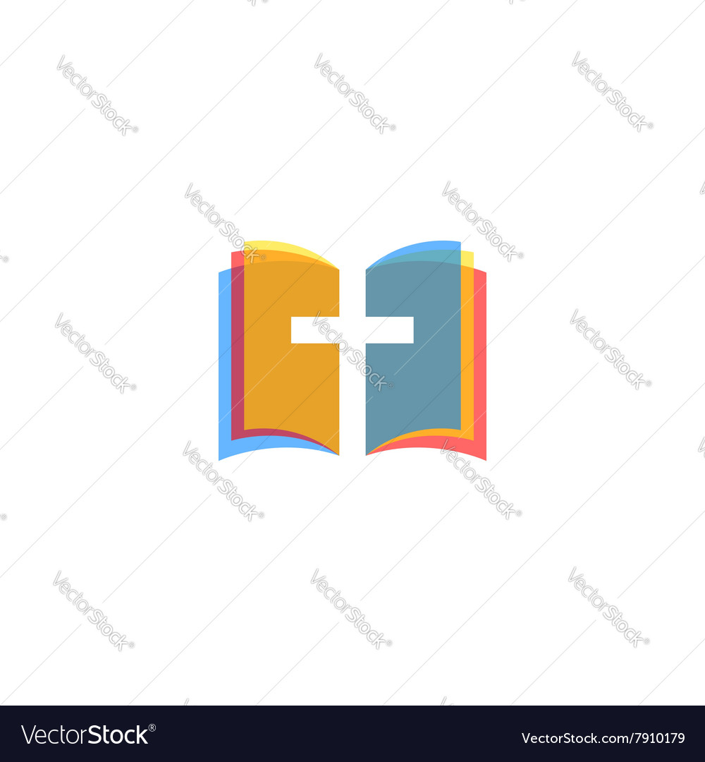 Holy bible icon colorful pages religion logo vector