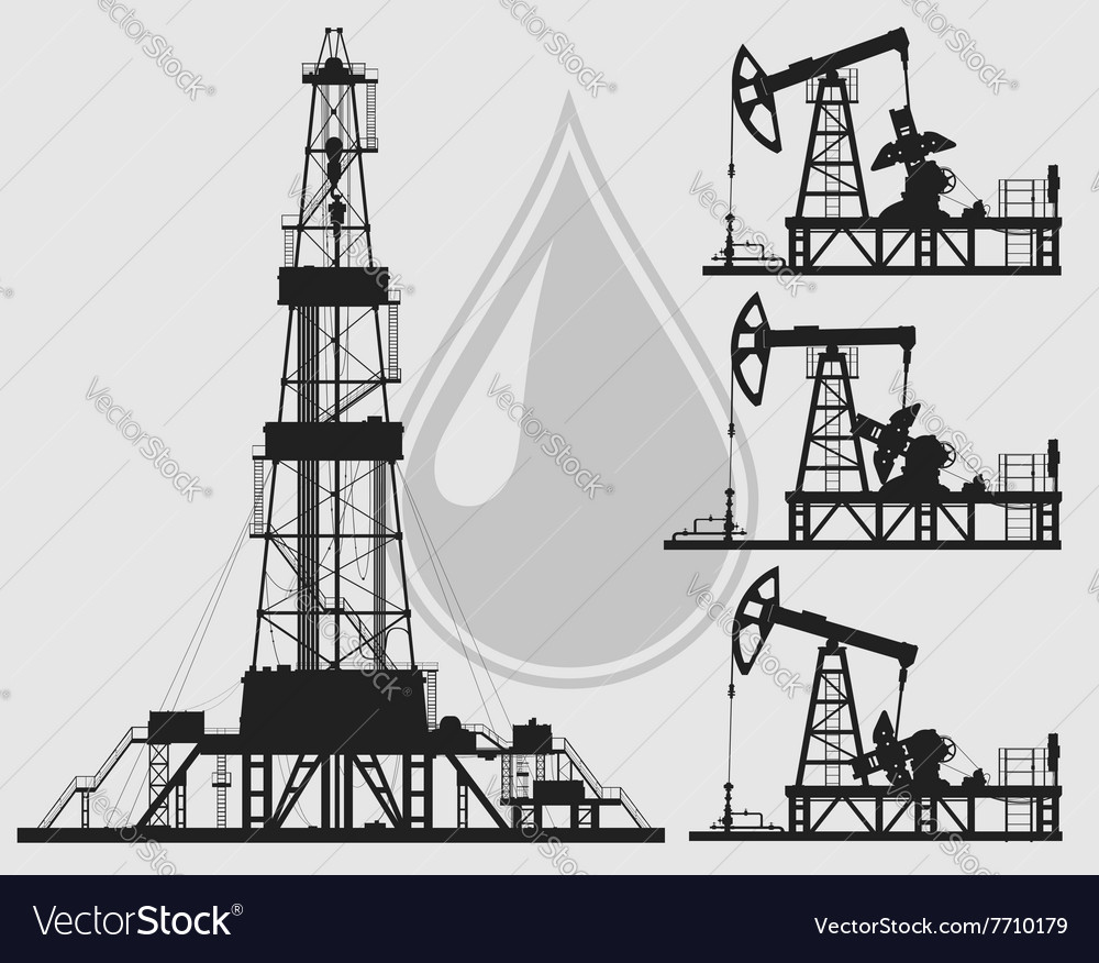 Set of oil pumps and rig silhouettes vector