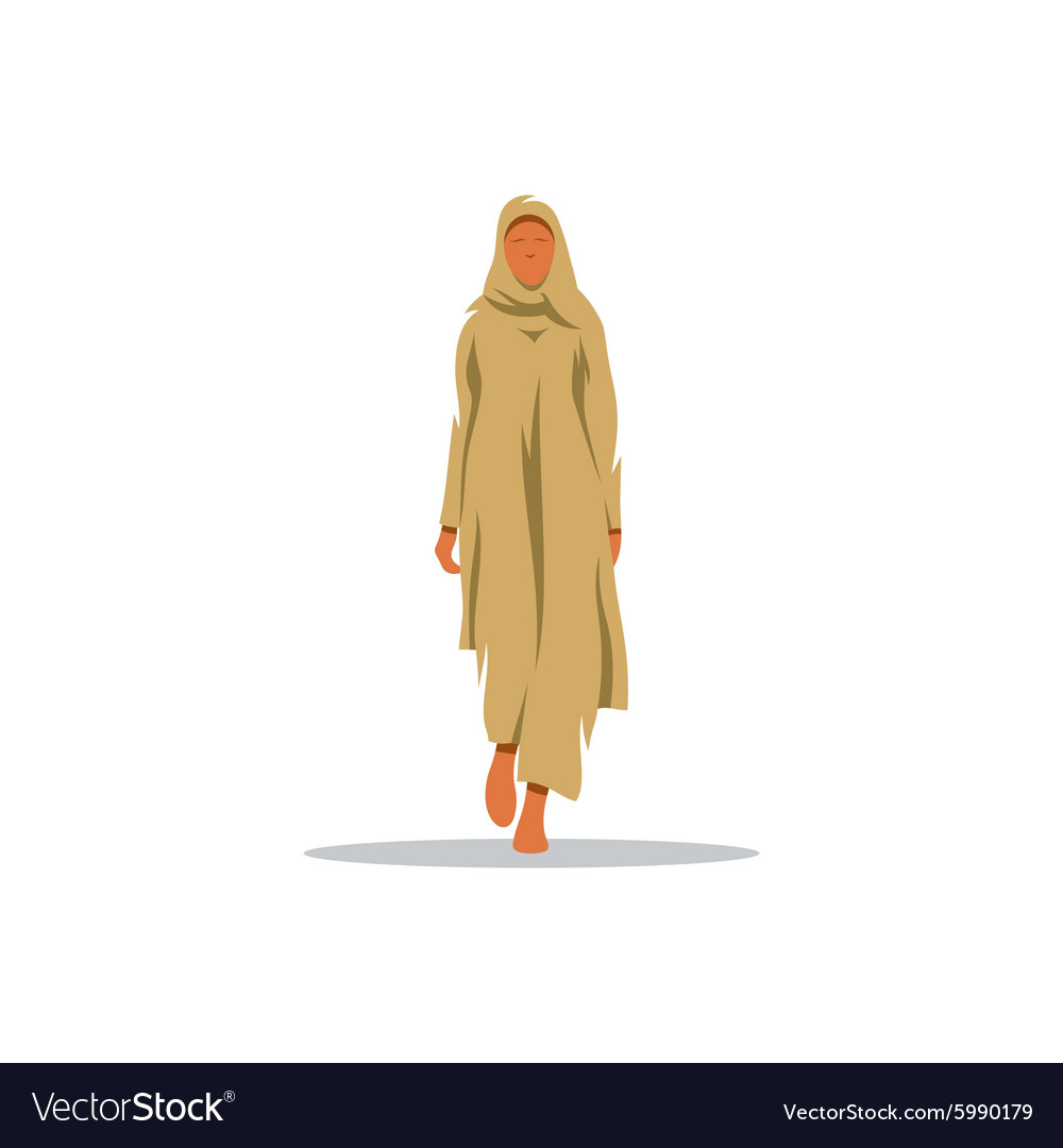 Young arab woman in traditional dress sign vector
