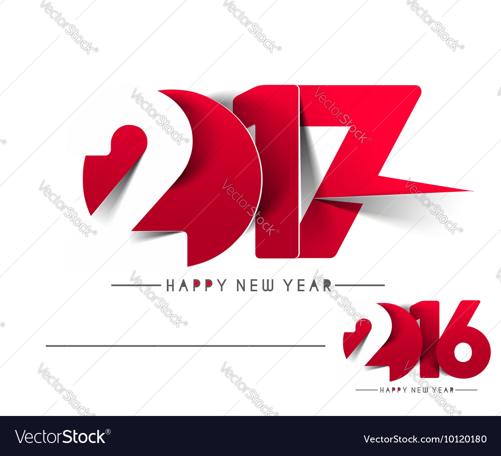 Happy new year 2017 2016 text design vector